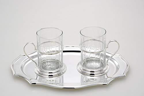 ROYAL QUEEN Tazzine The in Vetro con vassoietto Placcato argentto Sheffield cod.5206008 cm 315xx165h by Varotto & Co.