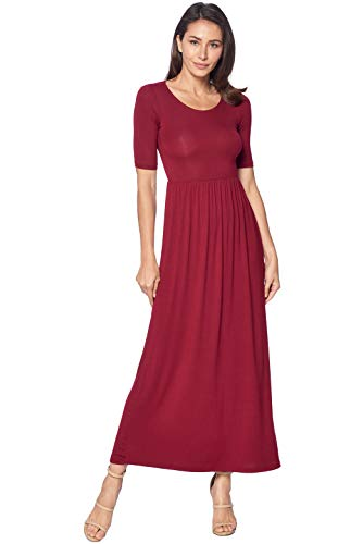 82 Days Women's Casual 3/4 Sleeve Long Maxi Dress with Elastic Waist Made in USA - Burgundy 2X