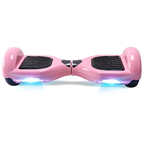 TOEU Hoverboard Scooter eléctrico Ruedas de 6.5', Leds, Potente batería de Litio, Self Balancing, monopatín eléctrico Auto-Equilibrio (Pink-Bluetooth)