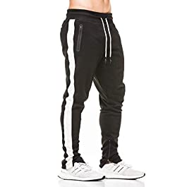 donhobo Mens Gym Joggers Sweatpants Bodybuilding Workout Slim Fit Running Trousers with Seamless Zip Pockets