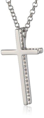 ESPRIT Damen Halskette 925 Sterling Silber rhodiniert Zirkonia ESNL92765A420