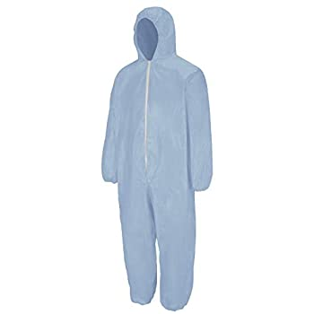 Bulwark Flame Resistant PVC Coated Chemical Splash Disposable Hooded Coverall Sky Blue Large