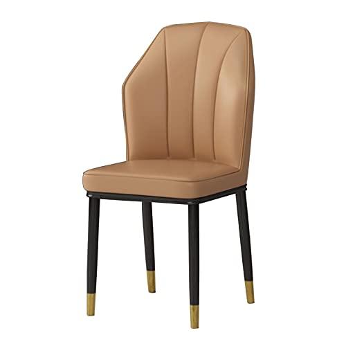 WYGK 1 pz Sedie da Pranzo, impermeabilità PU. Sedia Laterale in Pelle con Gambe in Metallo Cucina Soggiorno Salotto Salotto Sedie Arredamento (Color : Camel)