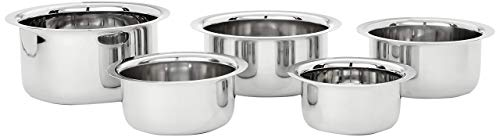Amazon Brand – Solimo Stainless Steel Tope Set (5 pieces, 420 ml , 550 ml, 840 ml, 1150 ml and 1550 ml, Induction and Gas compatible)