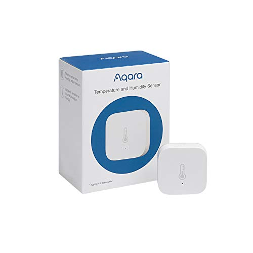 Aqara Temperature and Humidity Sensor, REQUIRES AQARA HUB, Zigbee, for Remote Monitoring and Home Automation, Wireless Thermometer Hygrometer, Compatible with Apple HomeKit, Alexa, Works with IFTTT