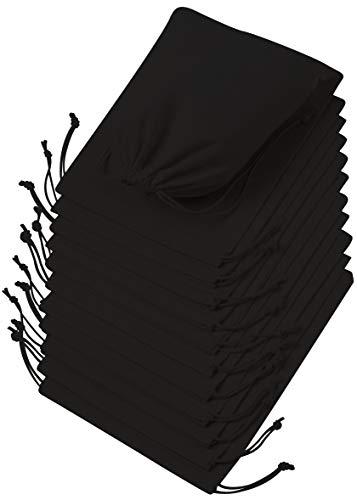 DR 100% Baumwolle Beutel Mit Kordelzug, Stoffsack Mit Band Zum Zuziehen - Organisch Und Natürlich, Schwarz, 8 x 10 inch - 12 pack