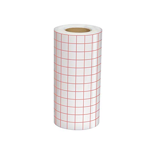 Clear Vinyl Transfer Paper Tape Roll 6' x 50 Feet Clear w/Red Alignment Grid -...