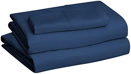 Amazon Basics Lightweight Super Soft Easy Care Microfiber Bed Sheet Set with 14″ Deep Pockets – Twin, Navy Blue