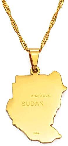 NC190 Collar Original de Sudán, Collares con Colgante, Color Dorado, Mapa de Sudán, joyería, Mapa Africano en Acero Inoxidable