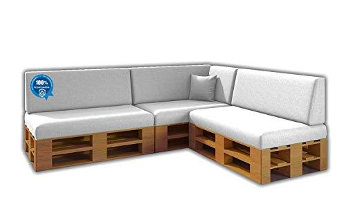 Pack Ahorro Conjunto 8 Cojines para Sofa de palets / europalet 3 Asientos + 3 Respaldos + Rinconera + Cojin | Desenfundable | Interior y Exterior | Color Blanco Nautico | 100% Impermeable