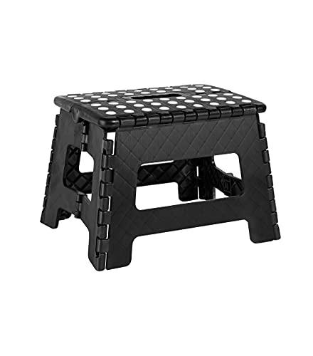 Cliusnra Taburete plegable de plástico, color negro, pequeño, para adultos, plano, compacto,...