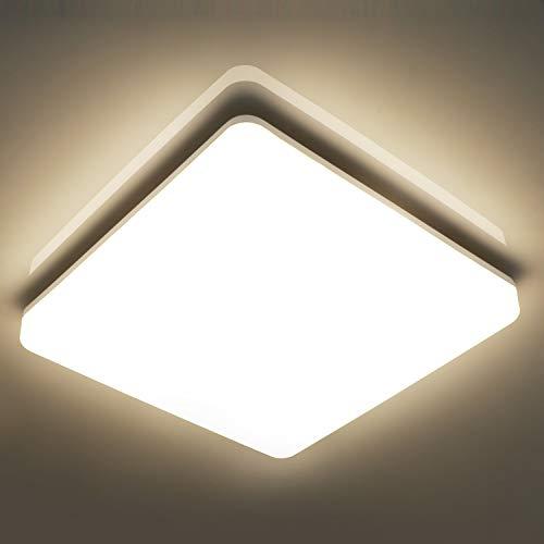 Oeegoo® 15W led Deckenleuchte Bad, IP44 Wasserfest Deckenlampe 22x22cm, 1500lm (100Lm/W) Ersetz 100W Glühbirne, Led Flimmerfrei Badleuchte, Wohnzimmerlampe, Badezimmerlampe, Neutralweiß 4000K