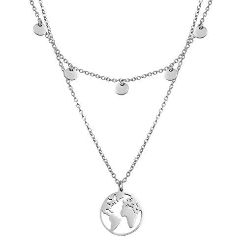 SHINE & WANDER Travel Island Necklace Bundle | Zweireihige Damen Edelstahl Halskette mit Plättchen und Globus Anhänger | Layered Look in Gold, Silber und Roségold mit verstellbaren Längen (Silber)