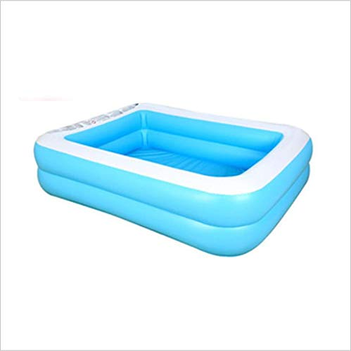 Chytaii Piscina hinchable familiar rectangular para niños, de PVC, plegable, para exterior e interior, rectangular, color azul, de 2 capas