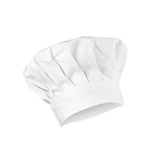 Fablcrew 1Pcs Chapeau de Chef Cuisine Élastique Coton Réglable, Chef Cap Chapeaux de Chef Adulte Blanc