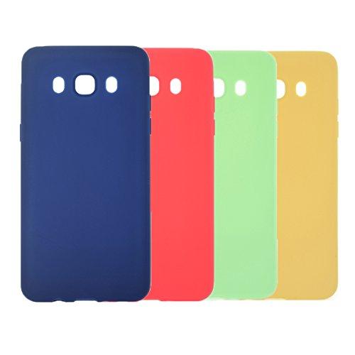 4 X Funda Galaxy J7 2016, WindTeco Carcasa Ultra Delgado Silicona TPU Gel Protector Flexible Cover Funda para Samsung Galaxy J7 2016, Azul Oscuro, Rojo, Verde, Amarillo