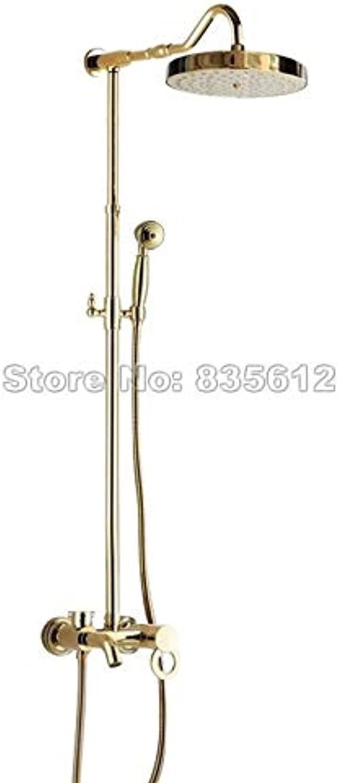 Wandmontage Regendusche Wasserhahn Set Gold Farbe Messing Einhand Bad Badewanne Mischbatterie + Handbrause Wgf645, Gelb