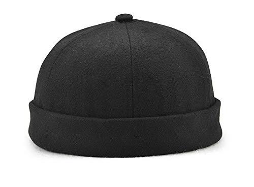 Zegoo Men Women Skullcap Beanie Worker Sailor Cap Rolled Cuff Retro Brimless Outfit Hat Black
