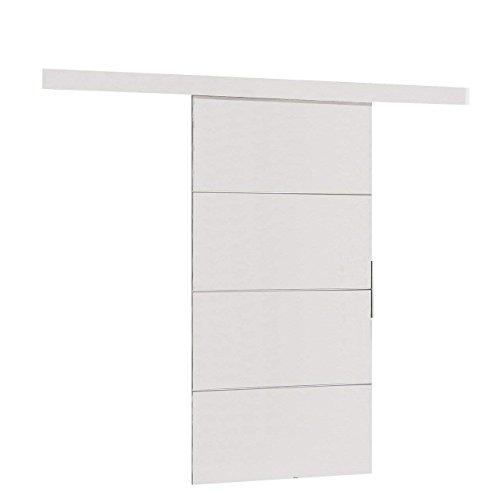 Mirjan24 Schiebetürsystem Multi Plus Komplett-Set für Schiebetüren Trennwände, Innentüren (Weiß, Modell 90, mit Selbstschließer)