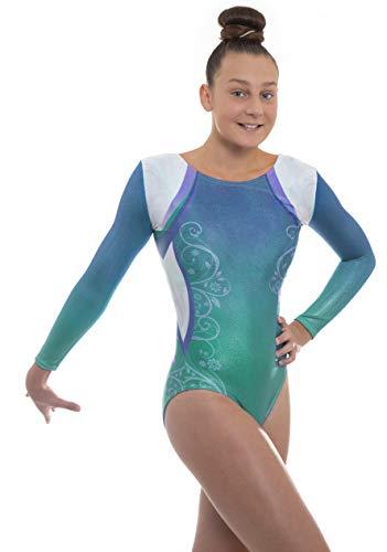 Velocity Dancewear Deluxe Decor Long Sleeve Gymnastics Leotards for Girls (Turquoise, 9-10 Years)