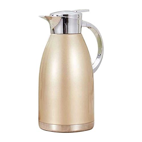 Thermal Carafes 2L Stainless Steel Vacuum Flask Coffee Hot Drinking Water Container Pot Double Insulation Thermose Kettle With Sealing Cap flask (Color : Gold)