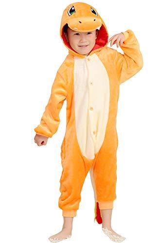 YAOMEI Kinder Unisex Jumpsuits, 2018 Kostüm Tier Onesie Nachthemd Schlafanzug Kapuzenpullover Nachtwäsche Cosplay Kigurum Fastnachtskostuem Weihnachten Halloween (100-110CM(39''-43''), Charmander)