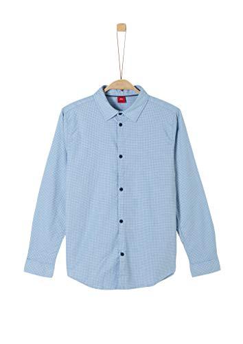 s.Oliver Jungen Fein gemustertes Baumwollhemd light blue AOP dots M.REG