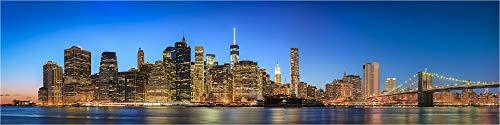 Panorama Wandbild, New York USA die Skyline am Abend, Fineart Bild als Wanddeko Wandbild in Galerie Qualität echter Fotoabzug mit Schutzlack auf Alu Dibond©