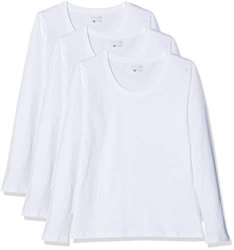Berydale Damen für Sport & Freizeit, Rundhalsausschnitt Langarmshirt, 3er Pack, Weiß (Weiß), Small