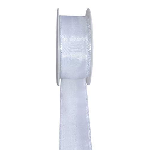 Taftband mit Drahtkante - Weiss - breit - Geschenkband - Dekoband - Schleifenband - ca. 40 mm Breite - 25 m Länge - 3330-40-25-1