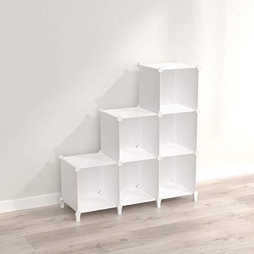 SIMPDIY 本棚 大容量 整理棚 ワイヤー収納ラック 組み立て式 衣類収納ボックス 便利な ワードローブ - 白(6ボックス)