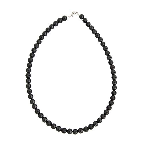 France Minéraux Black Tourmaline Necklace with 8 mm Ball Stones Black