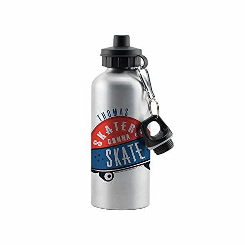 Hotchpotch Skaters Gonna Skate' - Botella de agua reutilizable de aluminio plateado de 500 ml