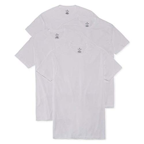Stafford 4-Pack Men's Heavy Weight 100% Cotton Crew-Neck T-Shirt White (L)