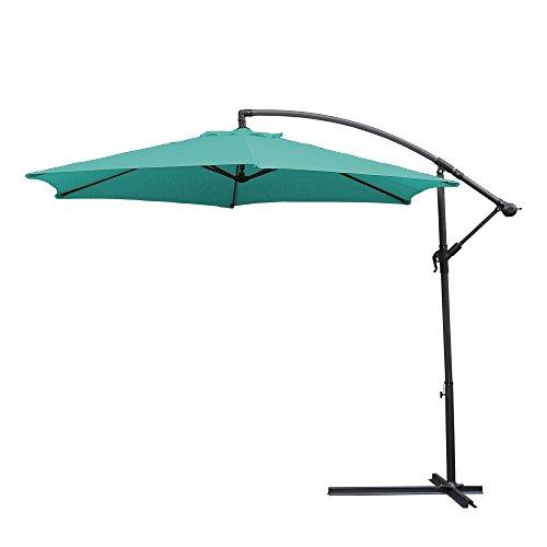 wolketon Alu Ampelschirm Ø 350cm mit Kurbelvorrichtung Sonnenschirm Gartenschirm Kurbelschirm Wasserabweisende UV 30+ Schirm Marktschirm