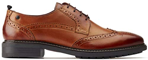 Base London Lennox Tan Washed Leather Mens Brogues Shoes