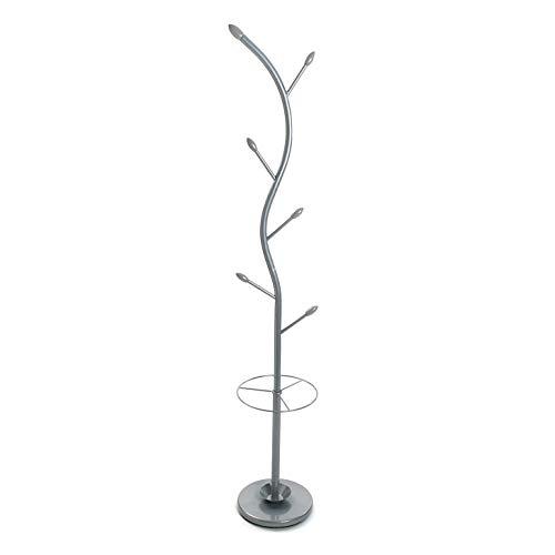 Versa 18790382 Perchero de pie con paragüero, Metal, Plateado, 185 x 30 x 30 cm