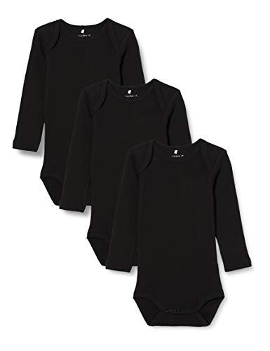 NAME IT Unisex Baby Strampler NBNBODY 3P LS SOLID Black NOOS, 3er Pack, Schwarz (Schwarz Black), 98