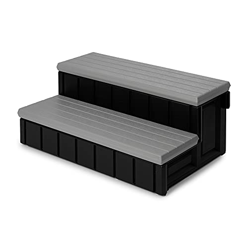 Leisure Accents Deluxe Spa Step, 36 Inches Long, Gray/ Black