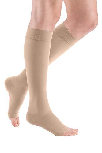 medi mediven elegance - 0249004 Knielange Damen Kompressionsstrümpfe mit offener Spitze | CCL2 | Noppen-Haftband | Beige | Gr. IV normal