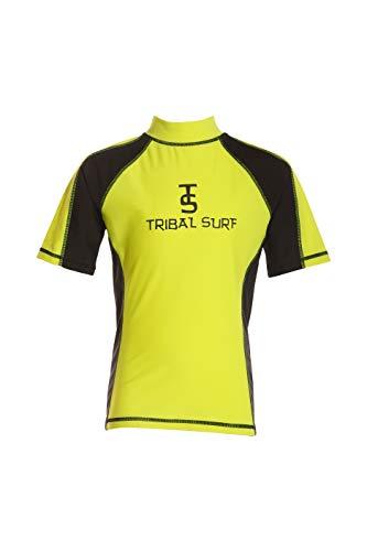 Tribal Surf Boy's Rashguard (Choose Color & Size) (Yellow/Black Sleeves, Large)