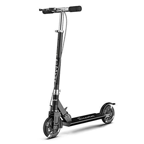 GTYMFH Scooter de pie Scooter para niños Levantamiento y Plegable Bicicleta de Dos Ruedas LED LED emisor de luz Scooter de Ciudad (Color : Black)