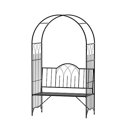 Outsunny Garden Metal Arch Bench Outdoor Patio Rose Trellis Arbour Pergola for Climbing Plant Antique Style Black