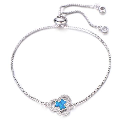 FUKAI Fashion Blue Opal Bracelet Transparent Zircon Plant Clover Charm Bracelet Women Slip Chain Crystal Jewelry Birthday Gift (Color : Silver)