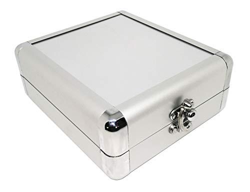 Alu CD-Box (mini Koffer Organizer) für 32 CDs, DVDs oder Blu-Rays, CD Tasche zur Aufbewahrung und Transport