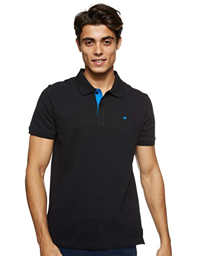 TOM TAILOR Herren Basic Polo_1016502 Poloshirt, Schwarz (29999 - Black), XL EU