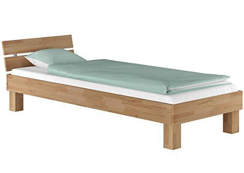 Erst-Holz® Futonbett Buche massiv Einzelbett 90x200 Jugendbett Holzbett Gästebett Bett mit Rollrost 60.86-09