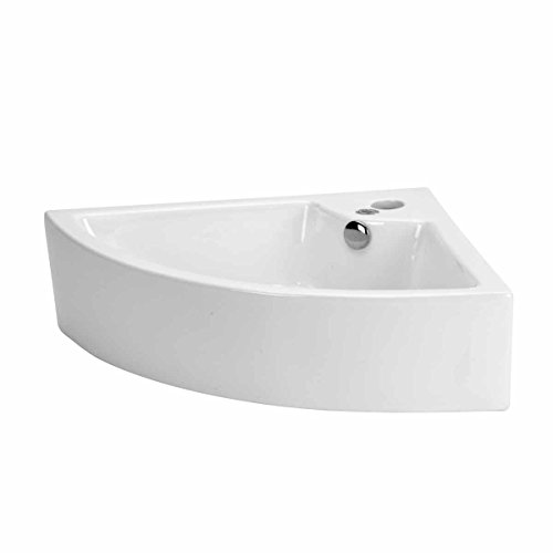 Hudson 25 7/8' Corner Countertop Vessel Bathroom Sink White With Overflow Heavy Duty Porcelain Renovators Supply Manufacturing