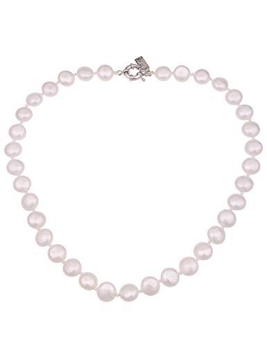 Leslii Damen-Kette weiße Perlen-Kette Muschelkern Perlen-Collier Kurze Halskette Elegante Modeschmuck-Kette Silber Weiß