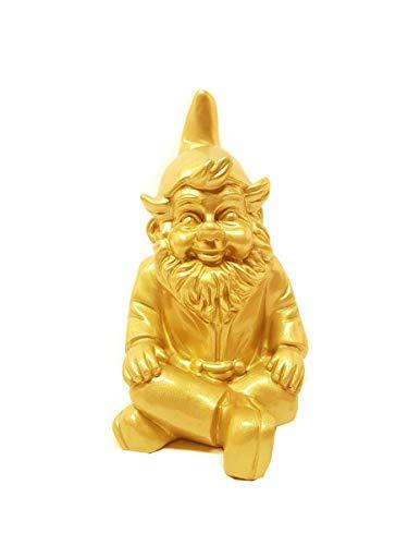 Stoobz Schöne Gartenzwerg Gold | Trendy GNOME Gold polyresin (Regen- und frostbeständig | Höhe 23 cm | Gold | Dekorationsartikel für Haus und Garten